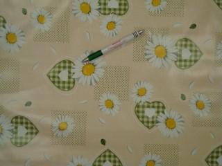 Viaszos vászon, margarétás, zöld szíves (9186)