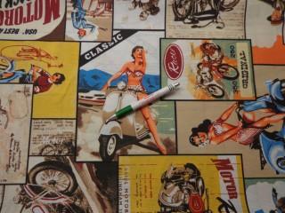 Loneta, bicajos-motoros, retro mintás kerti bútor vászon (9193)