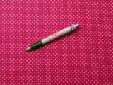 Mintás pamutvászon, pink alapon fehér pettyes (9198)