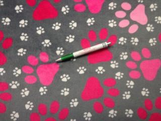 Babysoft, szürke alapon, pink-fehér tappancsos (9211)