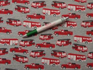 Sztreccs futter, szürke alapon piros járművek (9245)