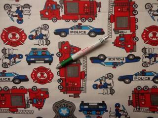 Gyerekmintás pamutvászon, rendőr és tűzoltó autós (9270)