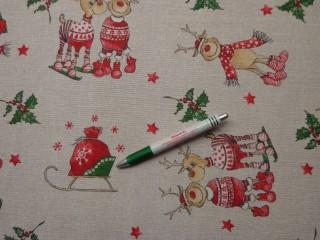 Loneta, karácsonyi vászon, rénszarvasos (9290)