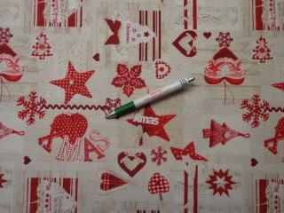 Loneta, karácsonyi vászon, piros-fehér-drapp mintás (9291)