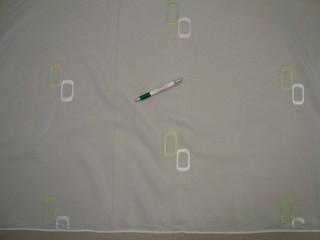 Fehér alapon fehér-zöld ovál mintás voile függöny, 300 cm magas (9300)