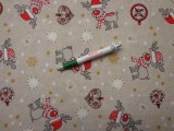 Loneta, karácsonyi vászon, rénszarvasos, szíves (9322)