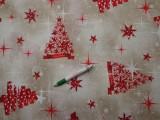 Loneta, karácsonyi vászon, karácsonyfás, csillagos (9323)