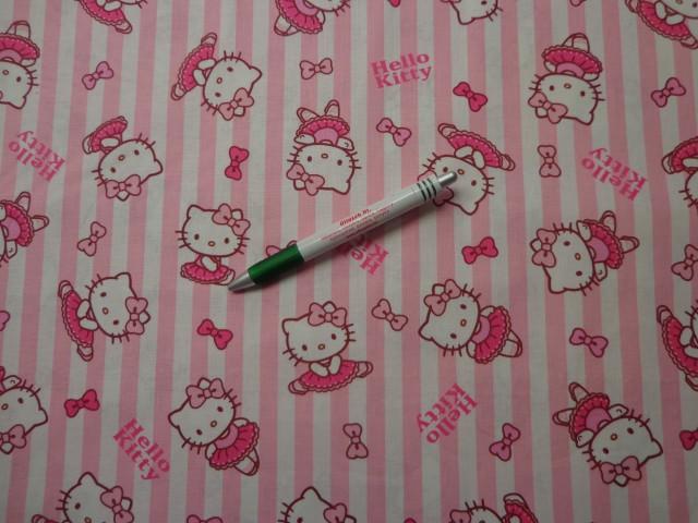 Rózsaszín-fehér csíkos alapon Hello Kitty mintás pamutvászon (9326) 9408a53473