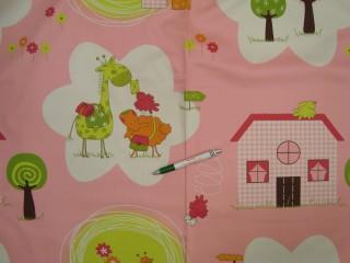 Gyerek mintás dekor függöny, 140 cm széles (9368)
