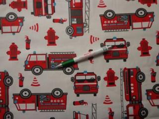 Gyerekmintás pamutvászon anyag, tűzoltó autós (9374)
