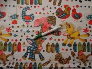 Gyerekmintás pamutvászon, színes lovas-tehenes-libás-tyúkos (9377)