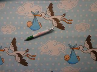 Gyerekmintás karton, gólyás, kék (9378)