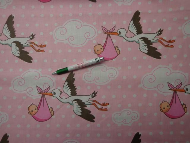 Gyerekmintás pamutvászon, gólyás, rózsaszín (9379)