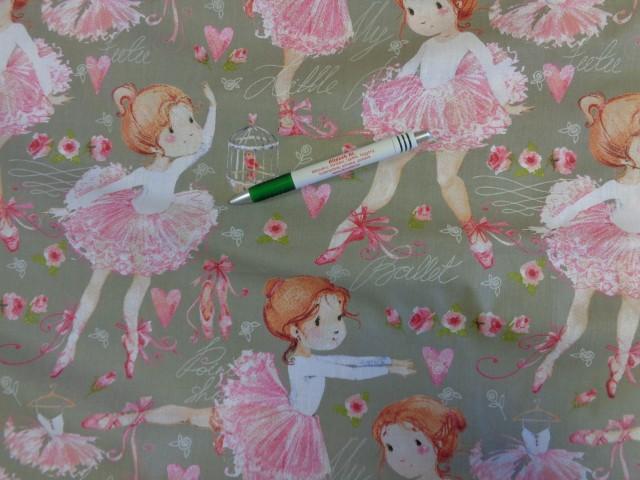 Gyerekmintás pamutvászon, szürke alapon balerinás (9382)