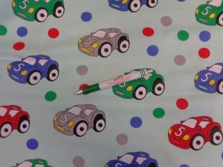 Gyerekmintás pamutvászon, zöld alapon autós (9384)