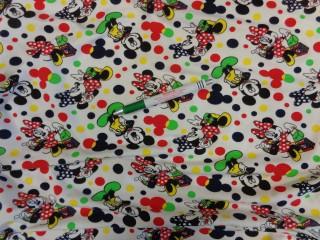 Gyerekmintás pamut jersey, fehér alapon Minnie egeres, rugalmas (9396)