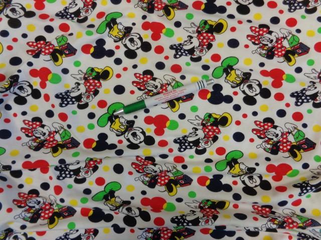 84c3766d7b Gyerekmintás pamut jersey, fehér alapon Minnie egeres, rugalmas (9396)