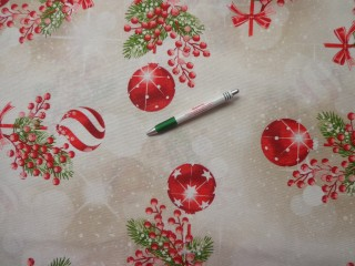 Loneta, karácsonyi vászon, gömbös, fenyőágas, bogyós (9399)
