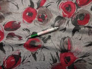 Kötött anyag, szürke alapon piros-barna  virágos (9440)