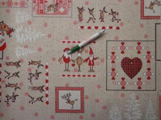 Loneta, karácsonyi vászon, rénszarvasos, mikulásos (9472)