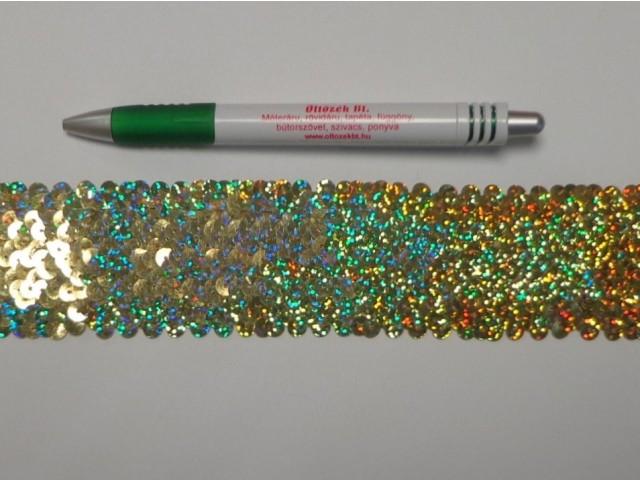 Elasztikus többsoros flitter szalag, arany, hologramos (9492)