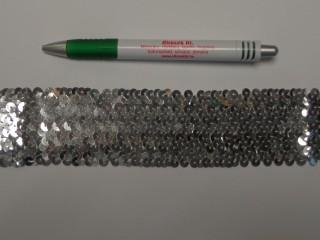 Elasztikus többsoros flitter szalag, ezüst (9493)
