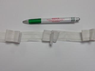 Függönybehúzó, fehér, 3 masnis; 2,5 cm széles (9517)