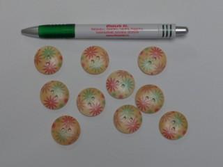 Fa hatású gomb, színes virágos, átmérő 26 mm (9553)