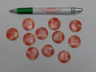 Fa hatású gomb, piros virágos, átmérő 26 mm (9554)