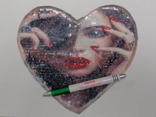 Átfordítható flitteres szív, csajos (9567)