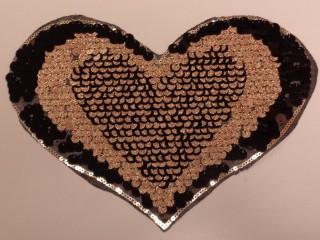 Átfordítható flitteres szív, arany (9568)