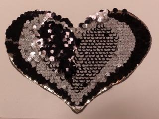 Átfordítható flitteres szív, ezüst (9569)