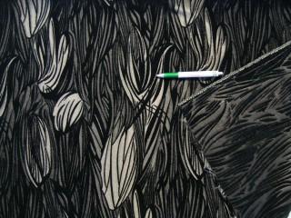 Kétoldalas, fekete-ezüst mintás plüss bútorszövet (9585)