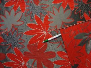 Kétoldalas, ezüst-piros mintás zsenília bútorszövet (9586)