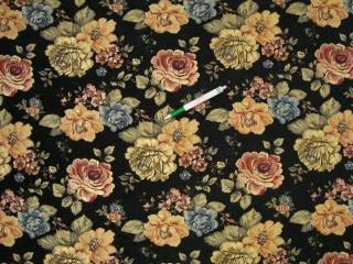 Fekete alapon színes rózsás zsenília bútorszövet (9587)