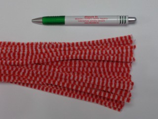 Zsenília drót, piros-fehér csíkos (9600)