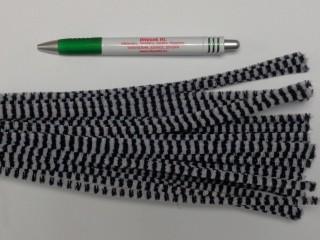 Zsenília drót, fekete-fehér csíkos (9602)
