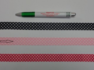 2 cm széles, köpper szalag, pöttyös, rózsaszín (9604)