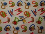 Digitálisan nyomott Loneta, ABC-s, kerti bútor vászon (9607)