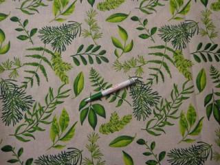 Loneta, natúr alapon zöld leveles, kerti bútor vászon (9608)