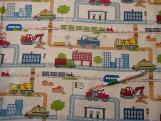 Gyerekmintás vászon, járműves (9613)