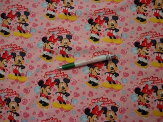 Sztreccs futter, rózsaszín alapon Minnie és Mickey (9671)