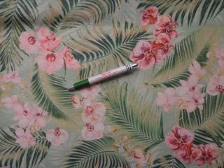 Loneta, világos zöld alapon orchideás-leveles, kerti bútor vászon (9678)
