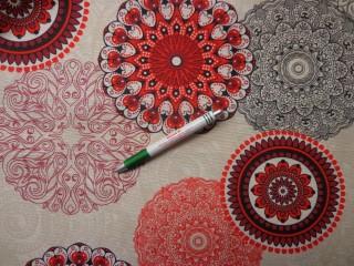 Loneta, piros retro mintás, kerti bútor vászon (9682)