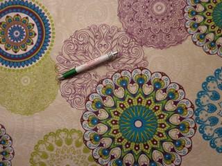 Loneta, türkiz-zöld-lila retro mintás, kerti bútor vászon (9683)