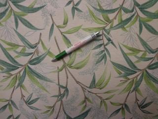 Loneta, ekrü alapon világos zöld leveles, kerti bútor vászon (9685)