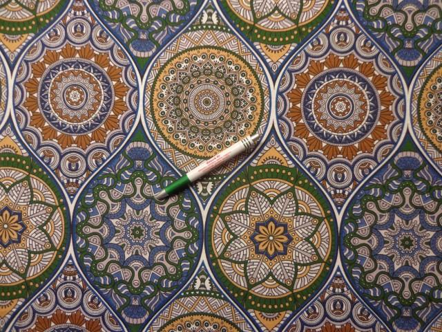 Loneta, kék-zöld-drapp mandala mintás, kerti bútor vászon (9686)