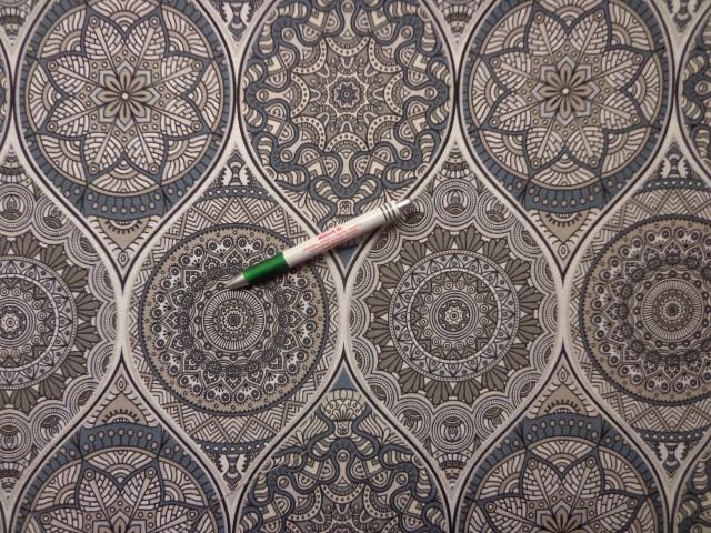 Loneta, szürke-fehér mandala mintás, kerti bútor vászon (9687)