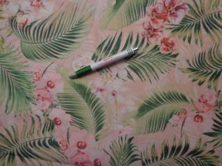 Loneta, rózsaszín alapon orchideás-leveles, kerti bútor vászon (9691)