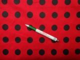Mintás pamutvászon, piros alapon fekete nagy pöttyös (9696)